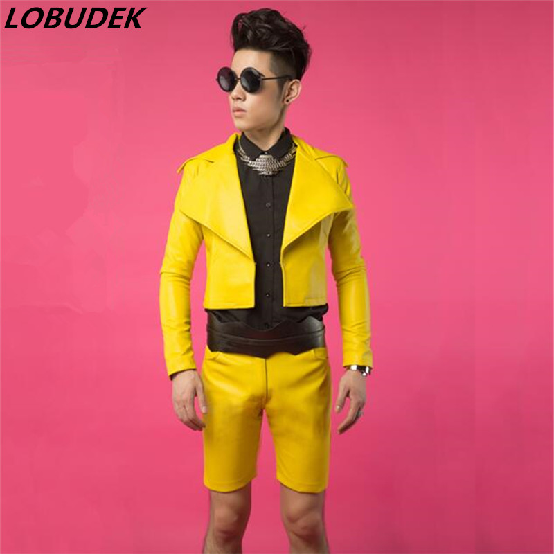 Male jacket trend dj costume costumes leather blazer coat yellow for singer dancer performance show Christmas bar dj dance jazz