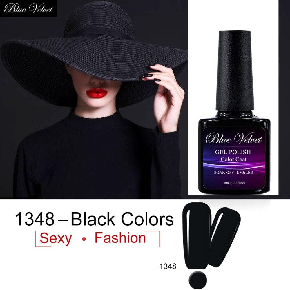 Blue Velvet Gel Nail Polish 10ml Pure Black Soak Off UV