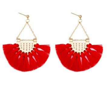 Этнический стиль Модные веерообразные серьги с кисточками в богемном стиле серьги ювелирные изделия - Цвет: Красный