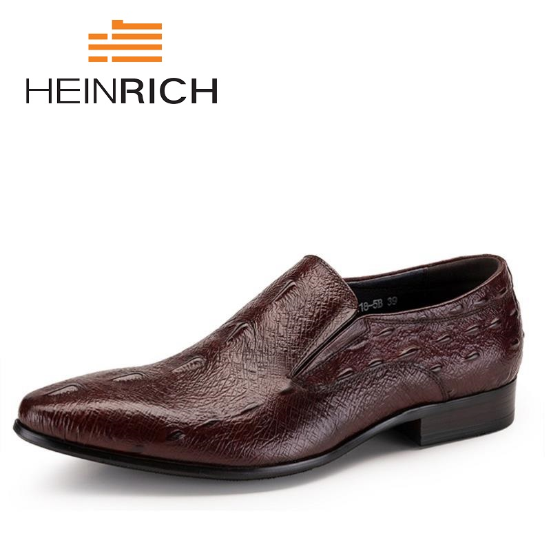 HEINRICH Men Dress Shoes Top Quality Handsome Business Leather Shoes Crocodile Pattern Brand Men Wedding Shoes Sapatos SocialHEINRICH Men Dress Shoes Top Quality Handsome Business Leather Shoes Crocodile Pattern Brand Men Wedding Shoes Sapatos Social