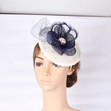 Fashion big sinamay hats feather flower fascinators headwear for party veilsl hair accessories wedding cocktail hat