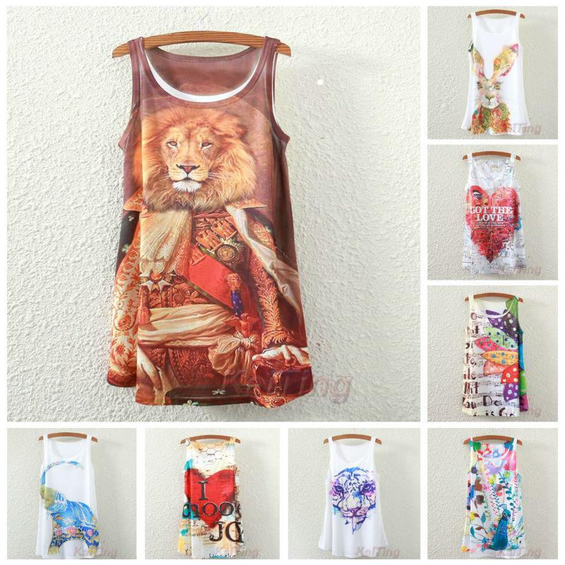 2015 New Fashion Vintage Spring Summer Women Sleeveless Print Animal Love Printing T Shirt Tee Blouse Vest Tank Tops Back White