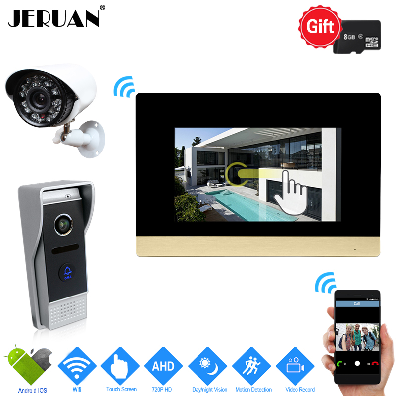 JERUAN IP WIFI 7`` Touch Screen Video Intercom System kit 720P AHD Record Monitor IR Camera Support Android IOS+720P CCTV Camera
