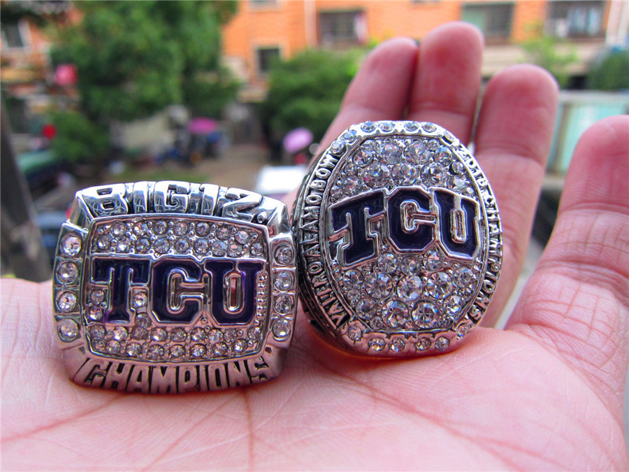 Drop Shipping 2014 2016 TCU Horned Frogs Big 12 Championship Ring Set 2 Together solid souvenir