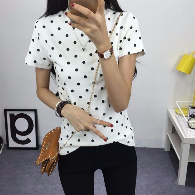 HTB1l9GiLXXXXXaPXVXXq6xXFXXXT - Women's T-Shirt  Polka Black Dotted Clothes Shirt