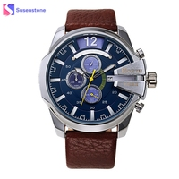 Fashion Watches Men Sports Watch Faux Leather Waterproof Date Function Analog Quartz Pulse Male Watch Casual