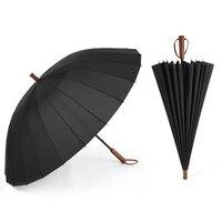 24 מטריית צלעות ידית ארוכה מטריית גשם Windproof חזק יותר Paraguas עם שקיות ידית עץ מלא