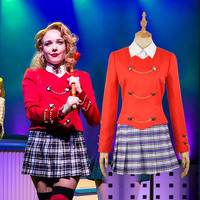 Heathers The Musical Rock Musical Chandle Red Stage School Dress Concert Cosplay Costume Adult Women Fancy Outfit Clothing