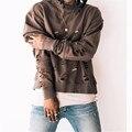 Men thin broken hole destroy sweatshirt men crewneck fear of god design yeezus pullover hoodies hip hop hoodie kanye west tops