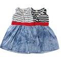 2015, лето, новый Хлопок Британский стиль 1 шт. девочки платье черный/белый Джинсовый Синий детское платье для девочек 0-2 лет детская одежда