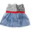 2015 summer new Cotton British style 1 pcs baby girls dress  black/white Denim Blue baby dress for girls 0-2 years baby clothing