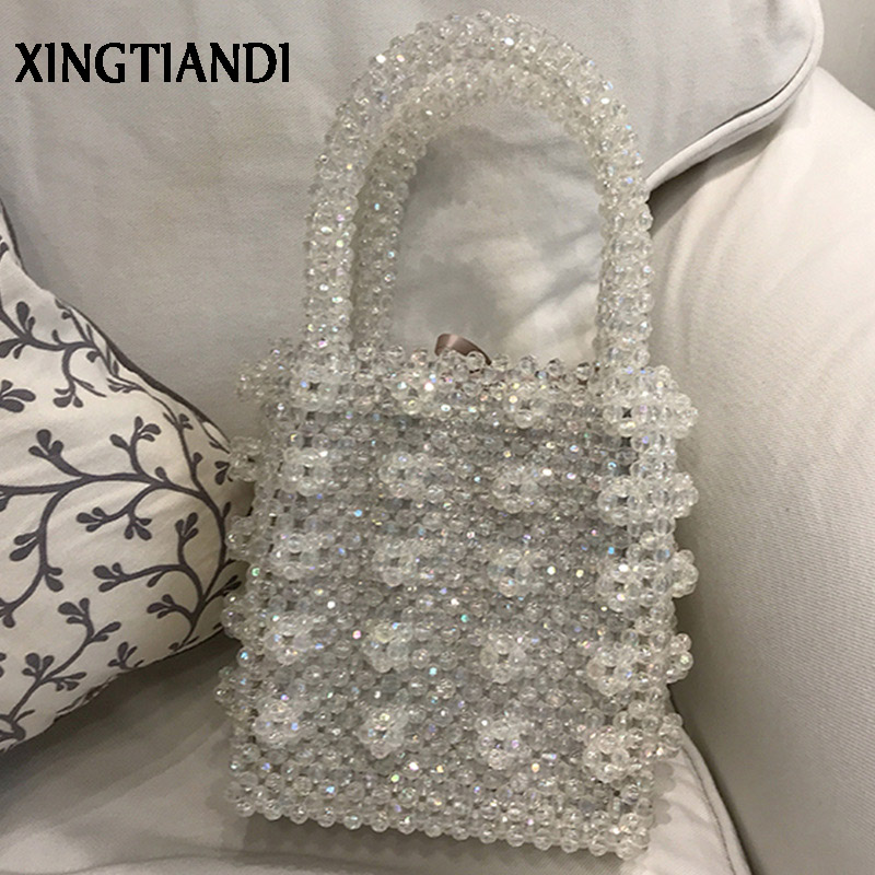 Vintage Crystal Handmade Lady Luxury Handbags Pearl beaded Bag Box Top-handle Evening Bag