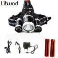 3T6 headlamp 3x XM-L T6  LED Headlight 9000 Lumen Head Lamp Flashlight Torch Lanterna led  Headlamp 90 degree night