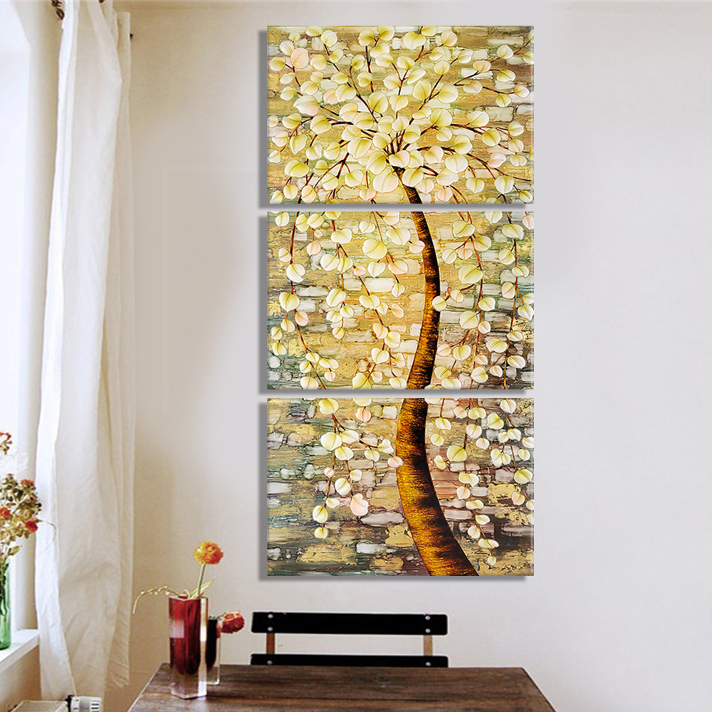 3 Pieces Modern Flower Abstract Print Frameless Canvas Art Oil ...