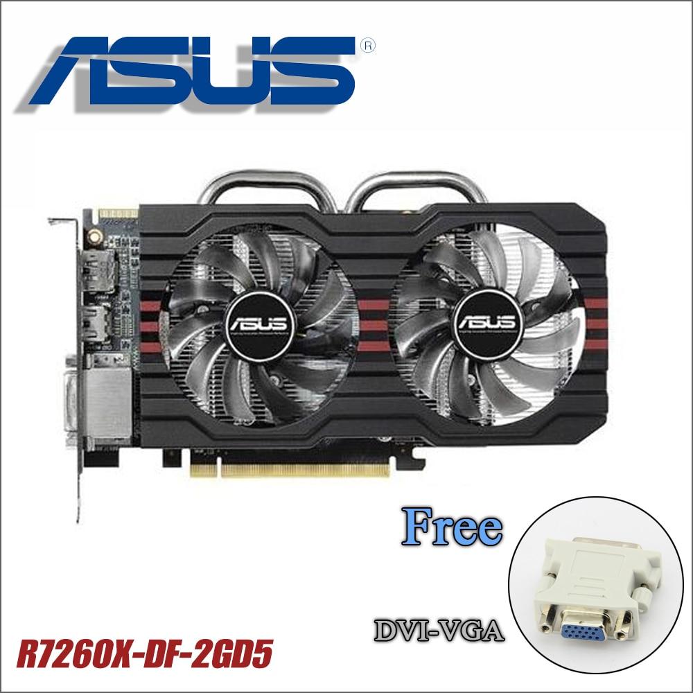 used Asus R7260X-DF-2GD5 power cable R7 260X 2G DDR5 128Bit PC Desktop Graphics video Cards R7260X R7 260 2GB GTX 750ti 750 1050