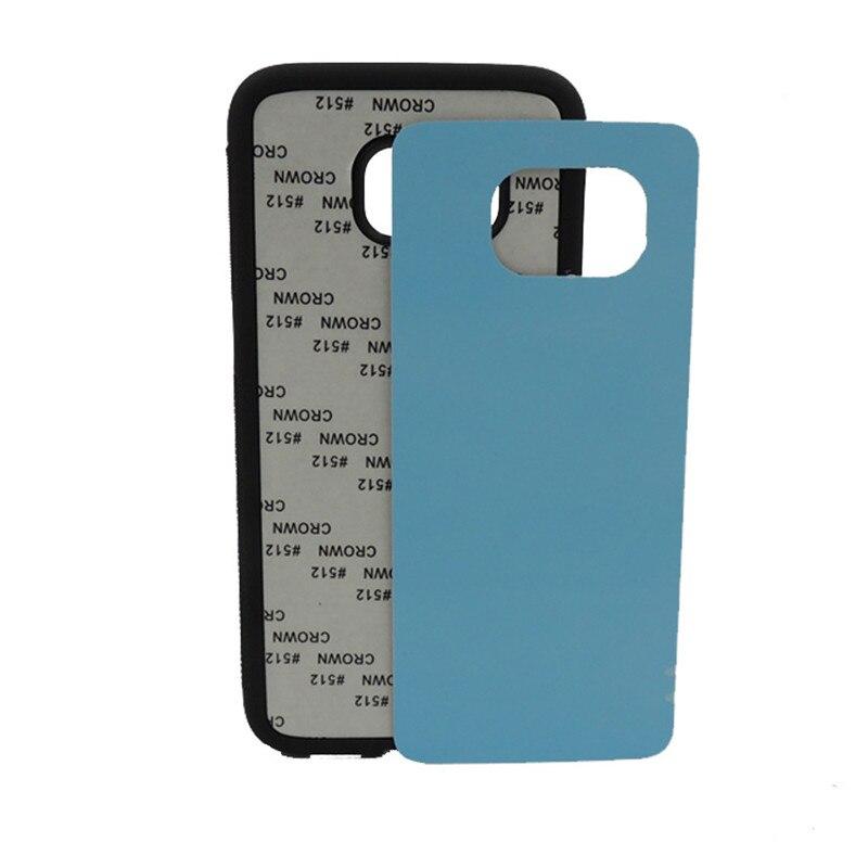 imágenes para 10 unids/lote Nuevo 2D Sublimación En Blanco Caso de TPU Para Samsung Galaxy S7 Borde de metal de Aluminio inserta Contraportadas