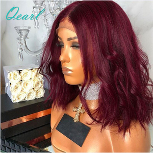 Image 2 - 99j Burgundy Wavy Short Bob Lace Front Human Hair Wigs With Baby Hair Pre Plucked Middle Part Brazilian Remy Hair Wig Qearl Hair