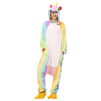 Wholesale Rainbow Unicorn Kigurumi Anime Women Costumes Cosplay Cartoon Animal Sleepwear Unicorn Pikachu Winter Warm Hooded
