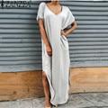 ZANZEA Vestidos 5 Цвета Женщины Лето Свободный Свободный Long Dress V шея С Коротким Рукавом Сторона Сплит Твердые Макси Платья Плюс Размер S-3XL
