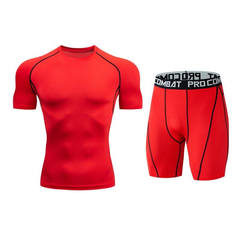 Для мужчин костюм модные компрессионная рубашка для фитнеса Однотонная футболка с короткими рукавами+ Шорты Для мужчин костюм мышцв, бодибилдинг одежда - Цвет: tz5