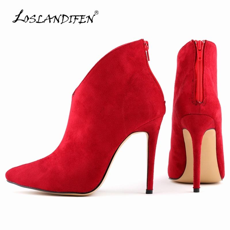 LOSLANDIFEN Women Boots Pumps Flock Zipper Velvet Sexy Pointed Toe High Heels Shoes Winter Stiletto Ankle Boots Size 35-42 769-1