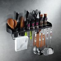 Kitchen black shelf 304 stainless steel kitchen pendant spice rack wall mount hardware tool holder punch WF4031139