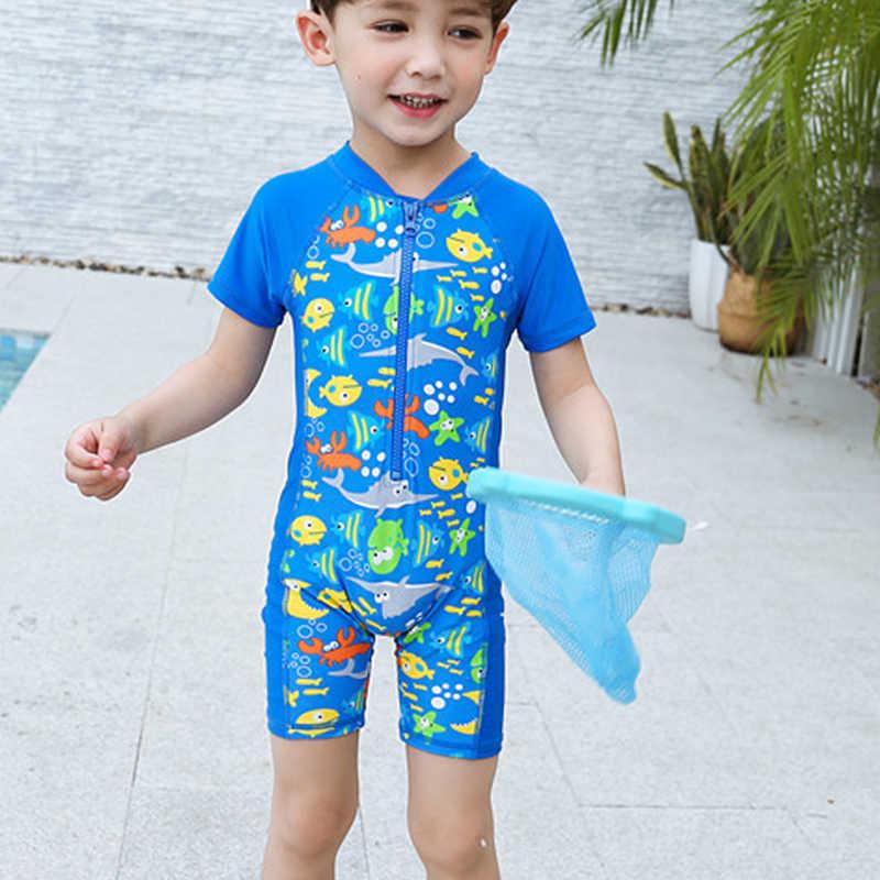 f08b9216d New 1-14Y Boy Swimwear Baby Short Sleeve One Piece Swimsuit Blue Fish  Toddler Boy