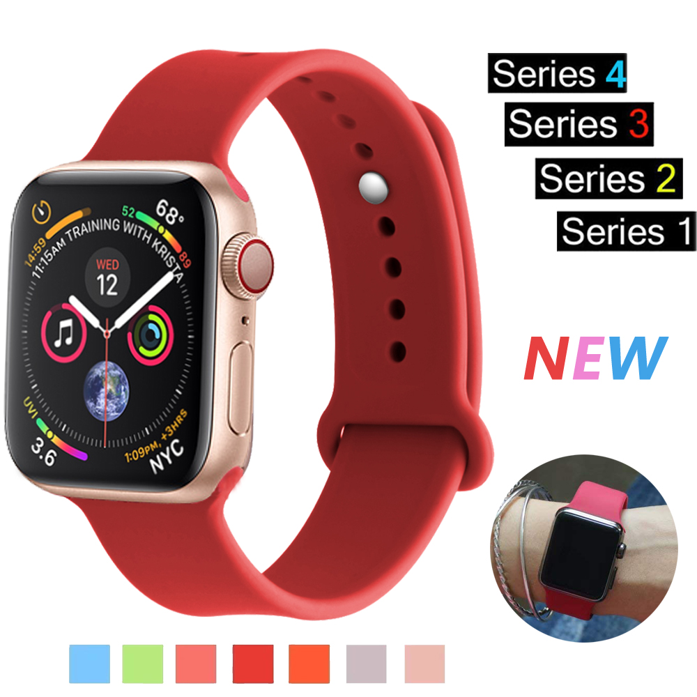 Sport Silicone strap For Apple watch band 4 44mm 40mm correa aple watch 42mm 38mm iwatch series 3 2 1 rubber wrist bracelet belt цена