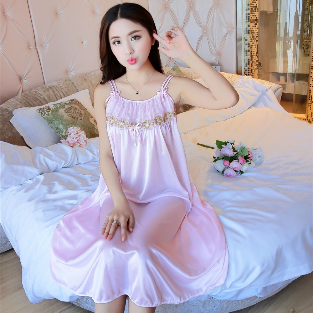 Sexy Sleepwear Long Night Dress for Women nightdress Silk Nightgown Night  Gown Ladies Sleeping Dresses -in Nightgowns   Sleepshirts from Underwear ... ea163fd8c