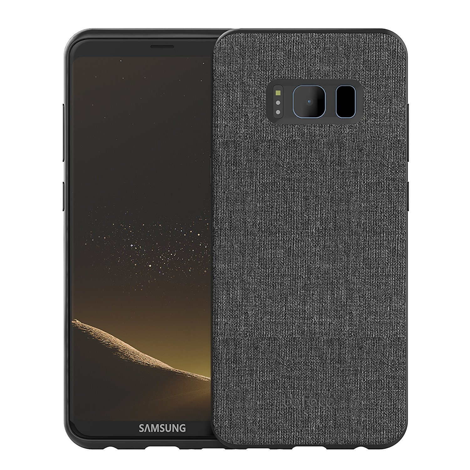 bb face Shockproof Hard PC+ TPU Bumper Case Scratch-Resistant Cover Fabric Case for Samsung Galaxy S8 Plus 6.2 inch