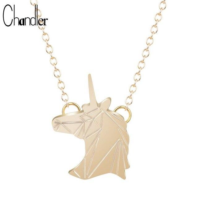 Fashion Jewelry For Women Origami Unicorn Pendant Necklace invisible chain Link Minimalist torque Engagement Bride Coler Bijoux