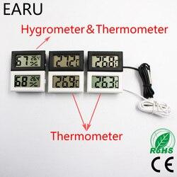 Цифровой Автомобильный термометр с ЖК-дисплеем, зонд 1 м-50 ~ 110 по Цельсию, измеритель влажности и температуры, гигрометр, пирометр, термостат