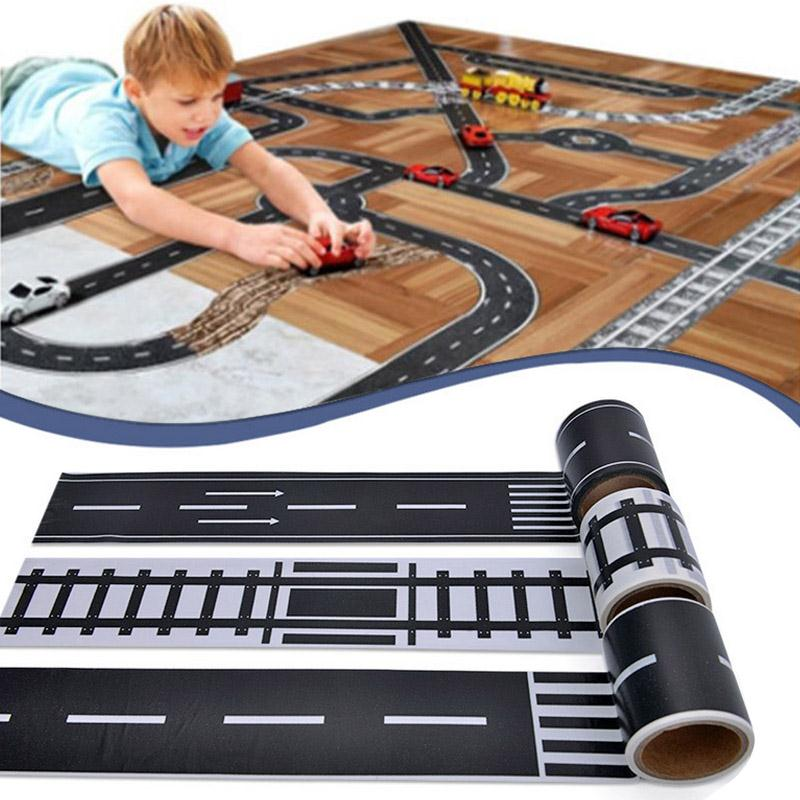 DIY Paper Road Traffic Adhesive Tape Toy Slot Children Kids Room Railway Expressway Ride Machine Games Funny Gadgets Easy Tear