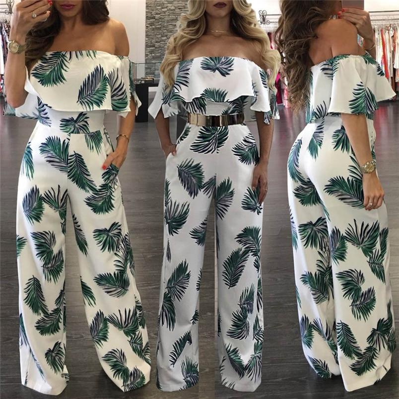 Women Summer Jumpsuit Fashion Short Sleeve Off One Shoulder Floral Print Playsuit Long Pants Casual Rompers Jumpsuit F#L20 (5)