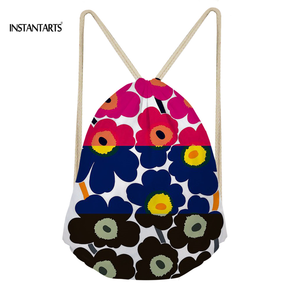 INSTANTARTS Colorful Poppy Flower Pattern Drawstring Bags Drawstring Backpack Women Men Small Beach String Shoulder Bag Satchel