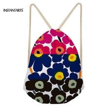 INSTANTARTS Colorful Poppy Flower Pattern Drawstring Bags Drawstring Backpack Women Men Small Beach String Shoulder Bag