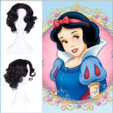 Anime Snow White Princess Wig Body Wave Hair Heat Resistant Synthetic Costume Wigs For Women Short Black Cosplay Wig + Free Cap цена