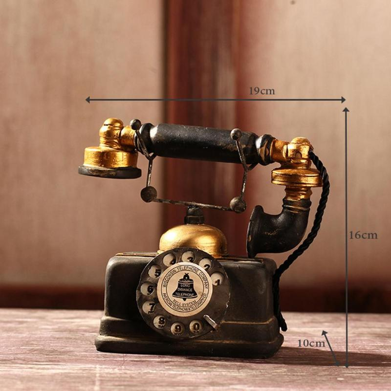 RetroTelephone Statue Antique Shabby Chic Classic Old Phone Figurine Home Desk Window Decoration Holidays Gifts