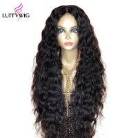 Luffyhair 250 Плотность 13x6 Синтетические волосы на кружеве парики из натуральных волос на кружевной основе воды волна кружева парик предваритель