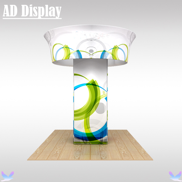 Trade Show Booth Portable 12ft*4ft Column Stand With Tension Fabric 10ft*4ft Circle Hanging Banner Display
