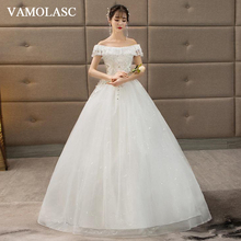 VAMOLASC Pearls Boat Neck Lace Ball Gown Wedding Dresses Crystal Off The Shoulder Tulle Backless Bridal Gowns