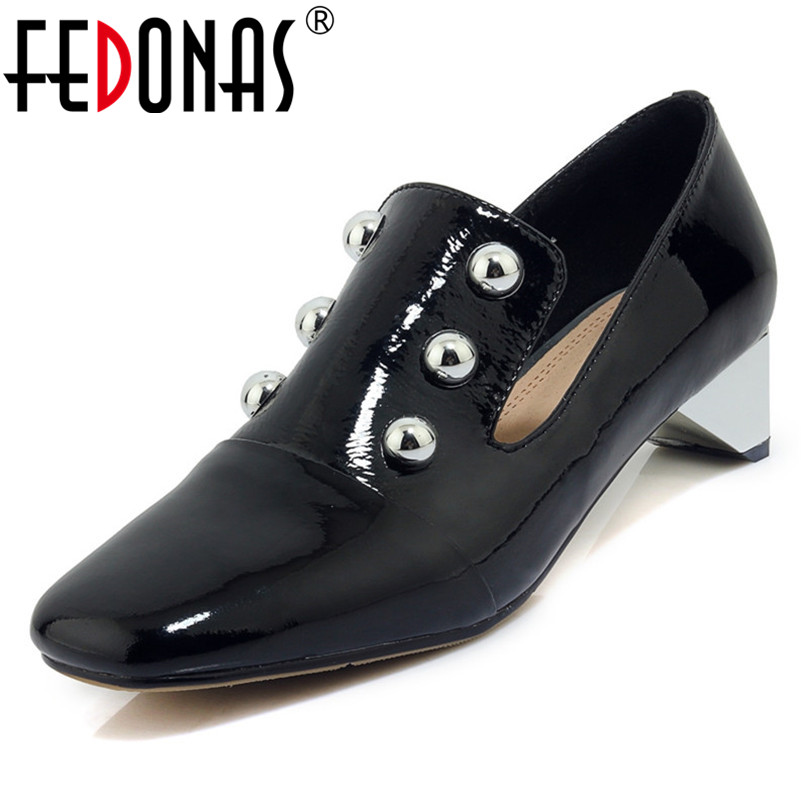 FEDONAS New Women Med Heels Pumps Sexy Square Toe Rivets Party Wedding Shoes Woman High Heels Slip On Spring Autumn Office Pumps newest flock blade heels shoes 2018 pointed toe slip on women platform pumps sexy metal heels wedding party dress shoes