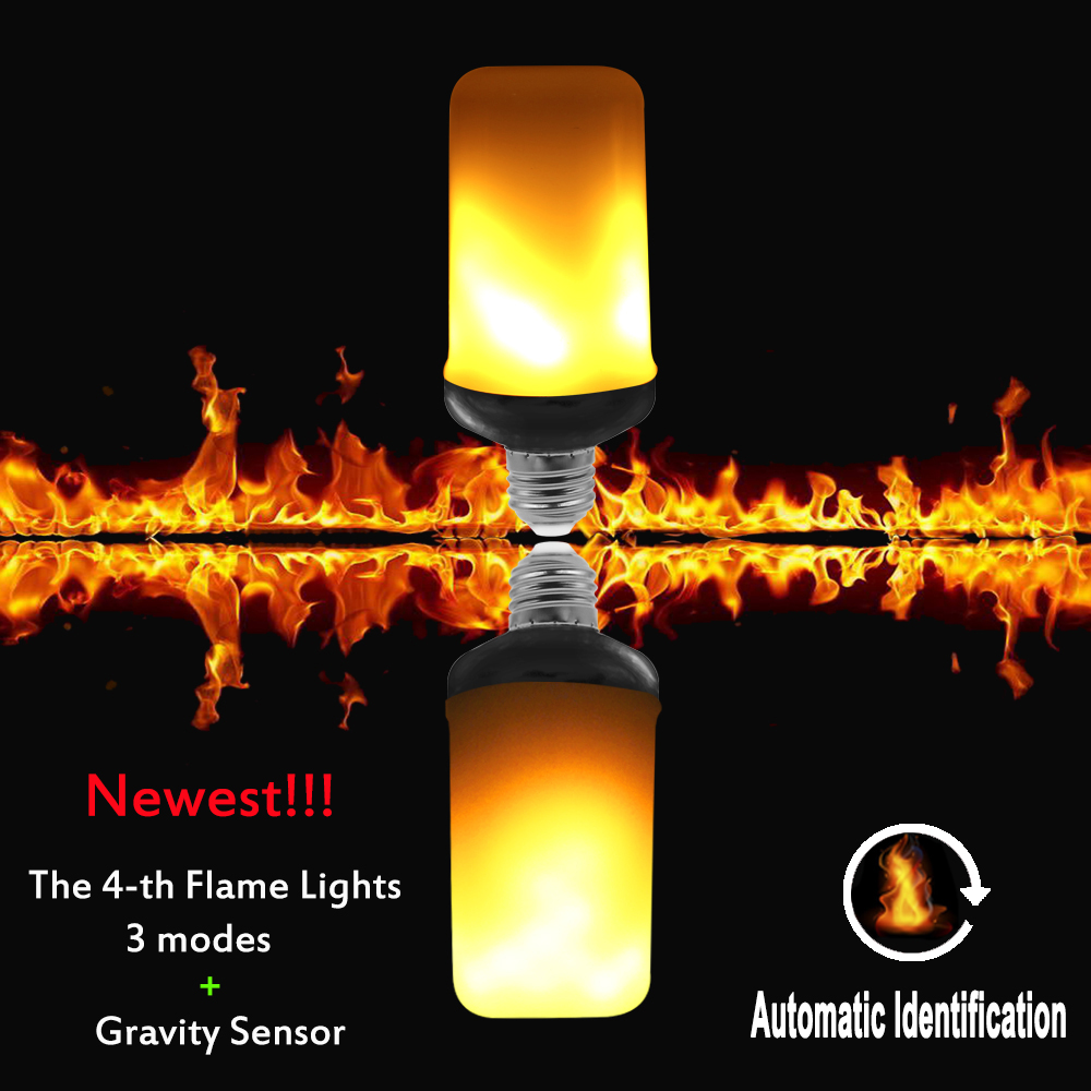 E27 LED Flame Effect Fire Light Bulbs 9W Creative Lamp Flickering Emulation Atmosphere 3 modes+Gravity Sensor Lights Corn Lamp 4w e27 e26 led dynamic flame effect fire lamp bulbs flicker emulation light bulb ac100v 240v night lights with 3 modes lampada