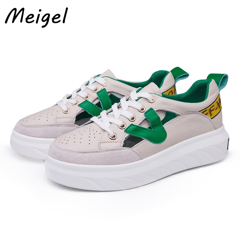 MEIGEL Hollow Out Breathable Leather Women Flat Shoes Round Toe Split Leather Flat Platform Lace-up Shoes Casual Loafers  308 summer women shoes casual cutouts lace canvas shoes hollow floral breathable platform flat shoe sapato feminino lace sandals