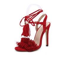Women Summer Shoes Gladiator High Heel Sandals 2016 Fashion Brand Tassels Sandlias Blue Red Sexy Ladies Shoes size 35-40 Q2
