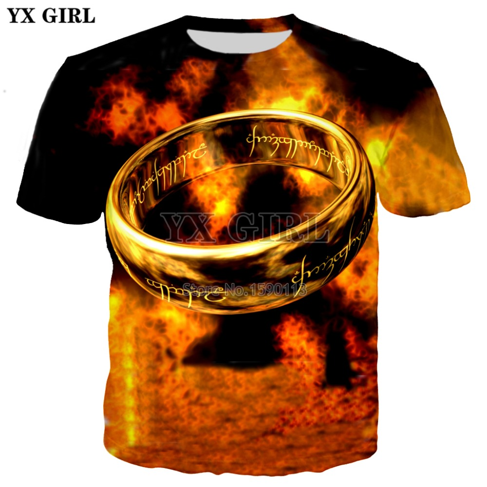 YX GIRL Brand Clothing 2018 Summer New Fashion 3d T-shirt The Lord Of The Rings Print Tee Shirts Men/Women Casual T Shirt TX-170