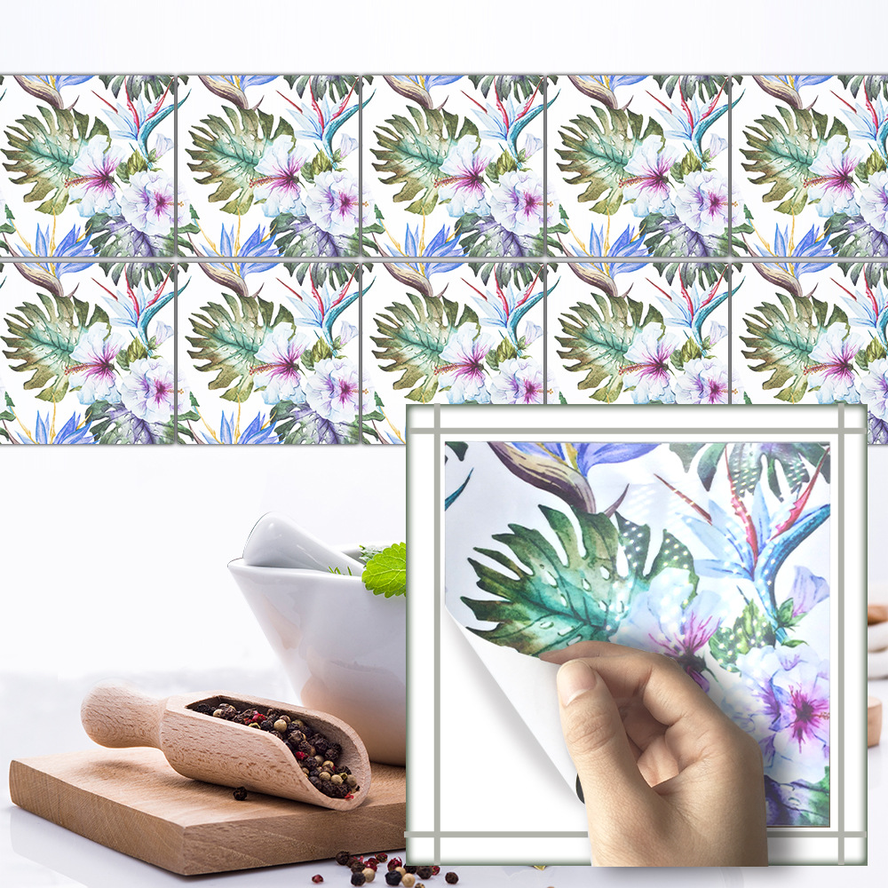 Funlife Tropical Palm Leaf Tile Sticker Oil Resistant Kitchen Cleanable Removable  Wall Sticker Living Room Background