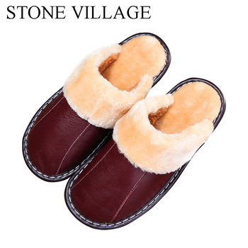 Genuine Leather slippers Warm plush Slipper women Couples Winter IndoorOutside Flats women slippers shoes Women home Slippers 3