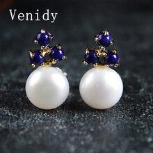 Venidy Natural White Pearls Shiny Circle Earrings Freshwater Pearl Earrings 925 Sterling Fine jewelry Studs Earrings For Women's