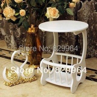 Blanc exquis de mode petite table à thé, porte-revues, étagère, meubles en bois massif, solide table en bois, petite table, Tables Basses